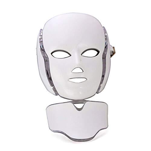CGBF-Masque de Beauté LED Masque de Luminothérapie 7 Couleurs Acné S'atténue Les Marques D'acné Suppriment Les Cernes et Les Ridules Blanchiment de La Peau Anti-Âge Rétractable Pores,Blanc