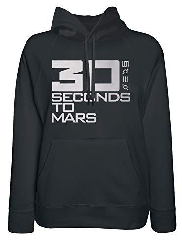 LaMAGLIERIA Damen-Hoodie 30 Seconds to Mars White Logo - Kapuzenpullover Rock Punk, Medium, Schwarz