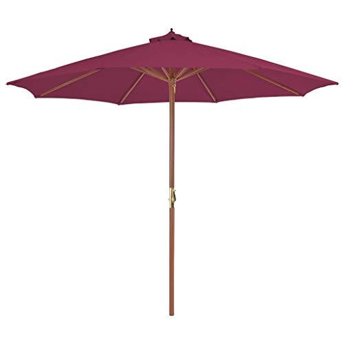 Festnight Sonnenschirm mit Holz-Mast | Balkonschirm | Gartenschirm | Marktschirm | Terrassenschirm Sonnenschutz | Strandschirm | Bordeauxrot 300 x 250 cm