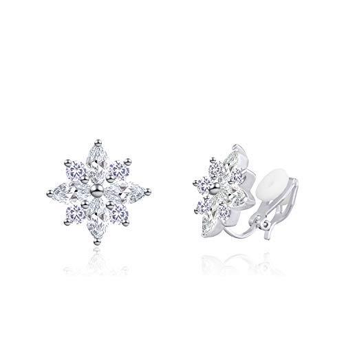 QUKE Blütenform Zirkonia Kristall Ohrclips Ohrstecker Clip auf nicht durchbohrte Hochzeit Ohrringe für Bräute
