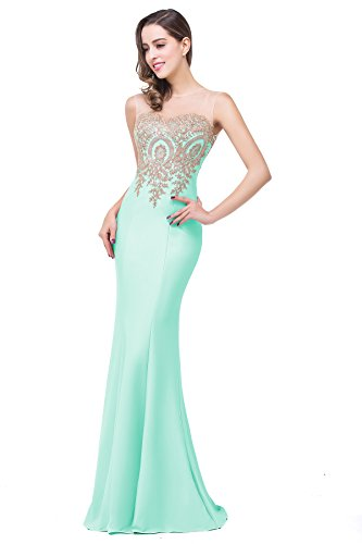 Babyonline Women's Lace Applique Long Formal Mermaid Evening Prom Dresses