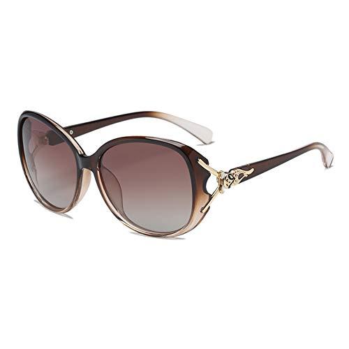 Gafas de Sol polarizadas para Mujeres, Marcos poligonales, Lentes Anti-ultravioletas Grandes, Gafas al Aire Libre para Conducir y Pescar, Negro, marrón, púrpura, Rojo, ámbar (Color : Brown)