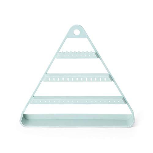 Ruby569y Estante de almacenamiento de joyas, organizador de pendientes triangular, soporte de exhibición para colgar, color azul claro