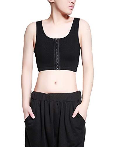 LES MAASK - Tomboy Chest Binder Trans borst corset-bh Korte elastische vest map met verstelbare tandspangen - Zwart/XS