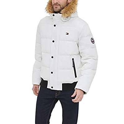 Tommy Hilfiger Men's Quilted Arctic Cloth Snorkel Bomber Jacket with Removable Hood (Standard and Big & Tall), White, Medium