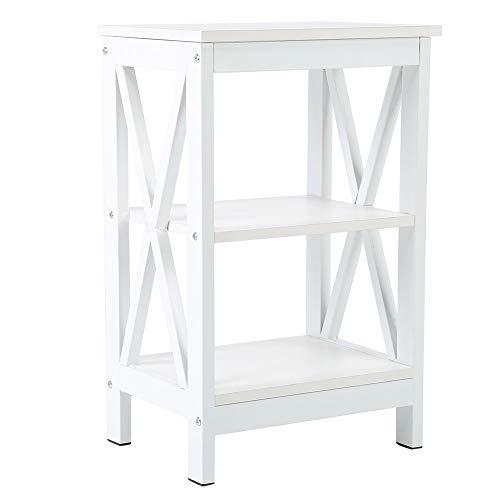 Ausla - Mesita de noche, mesa auxiliar, mueble de almacenamiento, con 2 estantes, para salón, dormitorio, 40 x 30 x 61 cm, color blanco