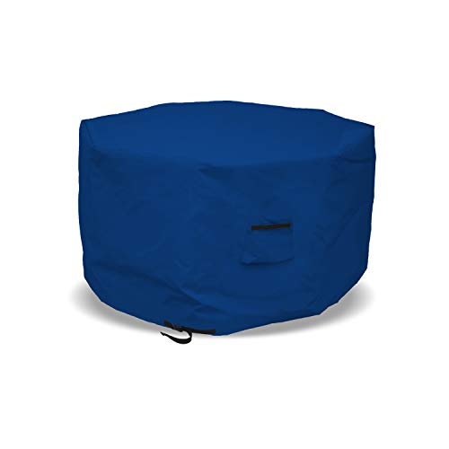 Octagon Fire Pit Cover 18 Oz Waterproof - 100% UV & Weather Resistant Outdoor Fire Pit Table Cover with Air Pocket & Drawstrap for Snug Fit (40' H x 65' D, Blue)