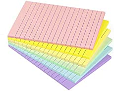Lined Sticky Notes 4X6 in Pastel Ruled Post Stickies Colorful Super Sticking Power Memo Pads Its Strong Adhesive, 6 Pads/Pack, 45 Sheets/pad