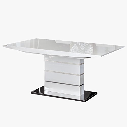 MerkaHome - Mesa de Comedor Extensible 160x90 cm Estela en Lacado Alto Brillo Blanco y pie Central