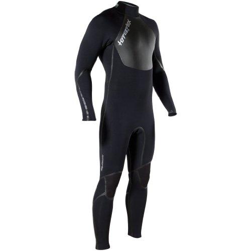 Hyperflex Wetsuits Hombres del vudú (con Cremallera Trasera, 3/2Fullsuit, Hombre, Negro