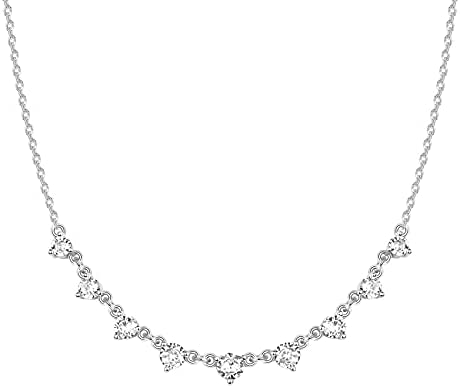PAVOI 14K White Gold Plated Station Necklace | Simulated Diamond BTY Necklace | Womens CZ Chain Necklace | Layering Necklaces