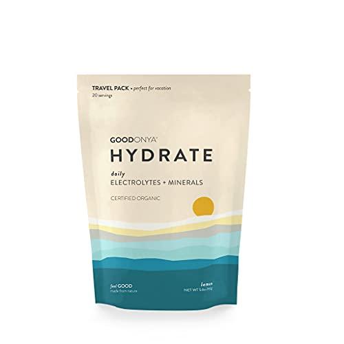 GOODONYA HYDRATE Organic Electrolyte + Mineral Powder, No Added Sugar, Pure Ingredients, Paleo + Keto Friendly, Plant Based Vegan, Diabetes Friendly, Eco-Friendly (Lemon, 20 Servings)