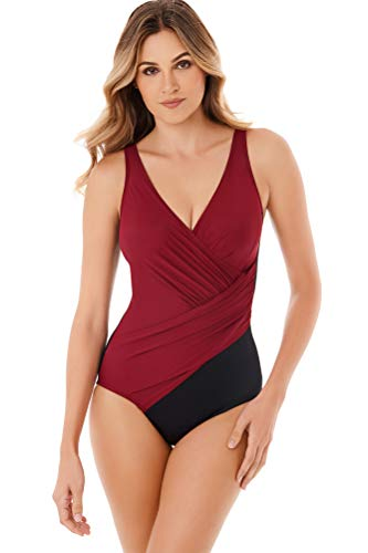 Miraclesuit Pompei Red Oceanus Surplice One Piece Swimsuit Size 12