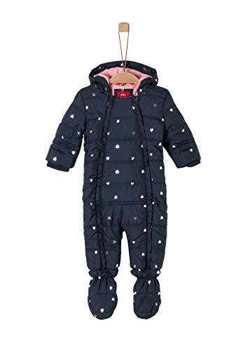 s.Oliver Unisex - Baby Winter-Overall mit Glitzerherzchen navy AOP 74