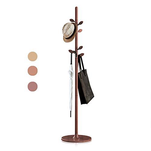 árbol de pie único pie libre con base redonda de madera, ajustable perchero de alto grado perchero sombrero soporte con 7 ganchos giratorios para bufandas, ropa, bolsos, llaves ( Color : Brown )