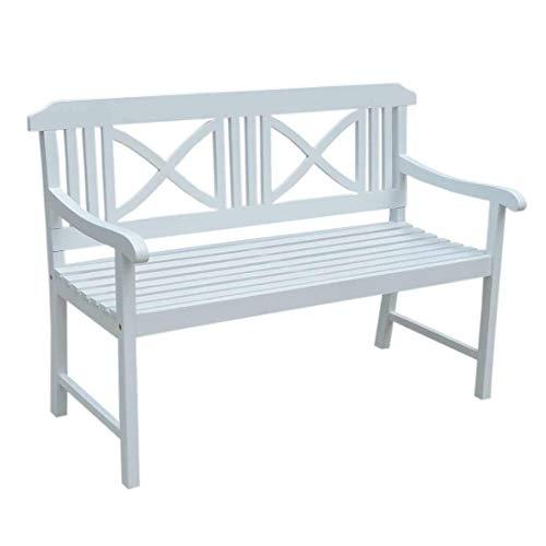 OUTLIV. Landhaus 2-Sitzer Gartenbank 128 cm aus Akazienholz in Weiß für 2 Personen
