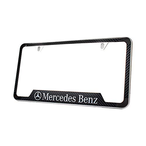 Lolosale Carbon Fiber Vinyl Decal Stainless Steel Metal AMG License Plate Frame Cover Holder for Mercedes Benz (1)