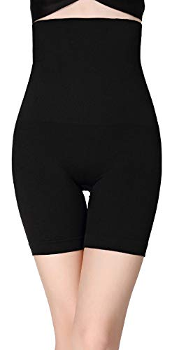 DEALSEVEN FASHION Women's Cotton Lycra Blended 4-in-1 High Waist Tummy and Thigh Shapewear (Black)