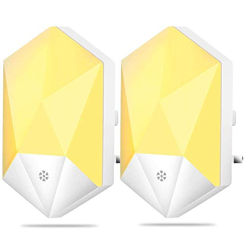JminJC Paquete De 2 Luces De Noche LED Lámpara De Luz Nocturna con Enchufe Tipo Diamante con Modo Atenuado Seguro para Bebés Niños Niñas Y Niños