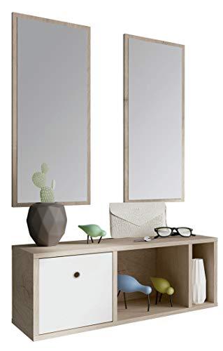 Pitarch Mueble recibidor Moderno 2 Espejos Blanco y Roble 1 cajón Entrada 70x28
