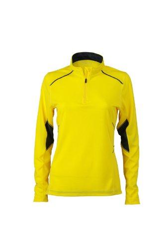 James & Nicholson - Ladies Running Shirt, Camicia di maternità Donna, Giallo (Lemon/Iron Grey), Small (Taglia Produttore: Small)