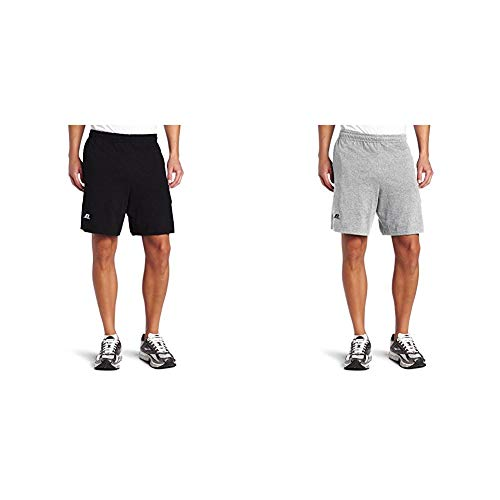 Russell Athletic Men's Cotton Baseline Short with Pockets, Black & Oxford, 3X-Large