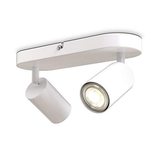 B.K.Licht Faretti da soffitto orientabili, attacco per 2 lampadine GU10 non incluse, plafoniera moderna in metallo bianco opaco, 27x6x9cm, lampada da soffitto per ingresso, camera da letto o corridoio