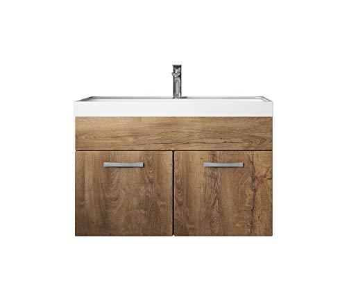 Badezimmer Badmöbel Set Paso 01 80 cm Waschbecken Lefkas (Braun) - Unterschrank Schrank Waschbecken Waschtisch