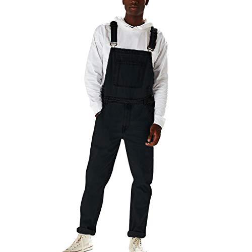 Peto Vaquero Hombre Largo para Trabajos Denim pantalón Casual con Bolsillos Mono Jeans Ancha Vaquero Slim fit...