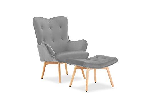 moebel-eins SANTOR Relaxsessel Wing Chair Sessel Polstersessel Wohnzimmersessel Bezug Samt mit Hocker, grau