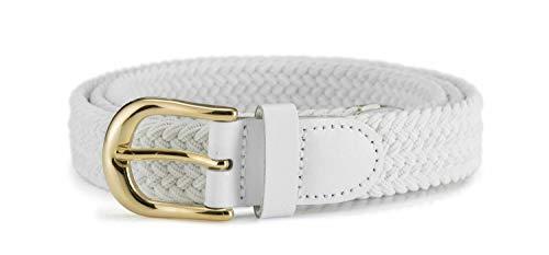 Streeze Cinturón Mujer Damas de Tela Elástica Entretejida. 5 Tamaños. Anchura de 25mm y Hebilla Dorada (Blanco, XL)