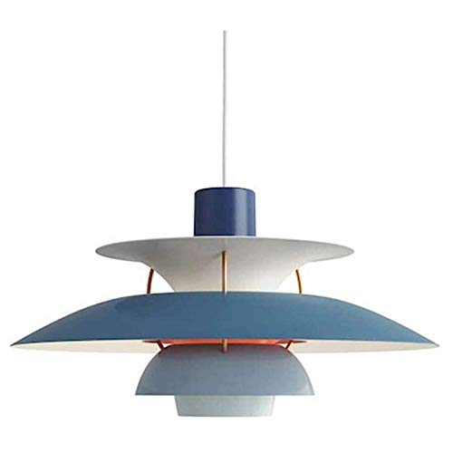 TQQ Iluminación colgante Lámpara PH5 Colgante Lámpara Creativa Moderna Minimalista Chandelier Dinamarca Diseño Lámpara Colgante Para Comedor Cocina Cocina Restaurante Azul (Size : 30cm)