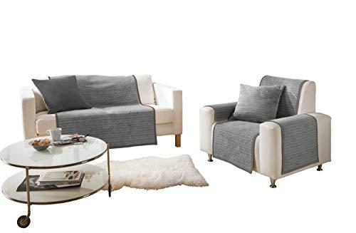 Ibena Fano Sesselschoner 050x200 cm – Sesselschutz grau hellgrau, toller Sessel Schoner aus hochwertiger Baumwollmischung, kuschelweich und pflegeleicht