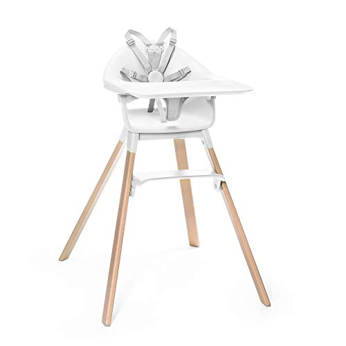 Stokke Clikk High Chair, White - All-in-One High Chair with Tray + Harness - Light, Durable & Travel Friendly - Ergonomic with Adjustable Features - Best for 6-36 Months or Up to 33 lbs