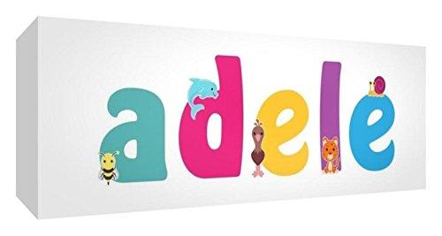 Little Helper Tela Scatola Galleria avvolto con pannello frontale stile illustrativo colorato con il nome di Giovane Ragazza Adele 30x 84x 3cm grande