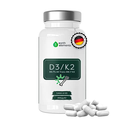 Vitamin D3 K2 120 hochdosierte Depot Kapseln mit 5600 I.E Vitamin D3 & 200µg Vitamin K2 (MK 7) 99,7% All Trans - Laborgeprüfte Herstellung aus Deutschland