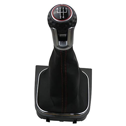 Schaltknauf 5 Gang, Malcayang Schalthebel für Volkswagen VW Golf 5 MK5 GTI GTD R32 2004–2009, Golf 6 MK6 GTI GTD R20 2009–2013, Schaltknauf + Schaltmanschette, Schwarz