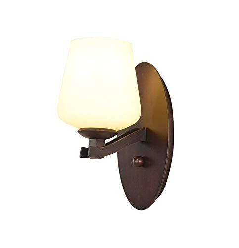 LHQ-HQ Retro Americana, Hierro lámpara de salón Dormitorio Luces de la Pared del Fondo Enciende Estilo Simple Europea Espejo Frontal se Enciende la luz del Pasillo E27 * 1 Ancho 12 × 28 cm de Altura