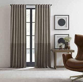 ED Ellen DeGeneres Shadow Rod Pocket/Back Tab Window Curtain Panel in Neutral 52 in W x 84 in L