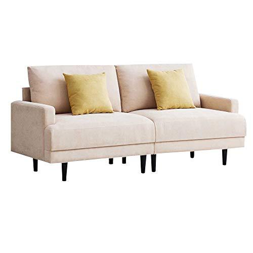 Sofá de 2 plazas, moderno, tapizado, fácil de montar, 180 x 77 x 83 cm, color beige