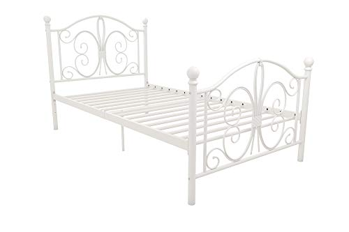 dhp full size bed frames DHP Bombay Metal Bed Frame - Vintage Design - Twin Size (White)