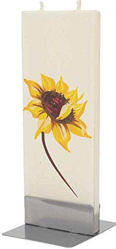 Flatyz Hand Painted Flat Candle   Unscented, Dripless, Smokeless, Decorative   Sunflower   Double Wick   Unique Gift Idea and Home Décor Accent   6 inches