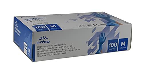 100 Stück Intco Synmax® Hybrid Einweg-Handschuh, Größe M (Material: Vinyl/Nitril-Hybrid), blau, puderfrei, Kein Latexprotein, Keine Weichmachern (DEHP und DOP), EN 455 / EN 374 (M)
