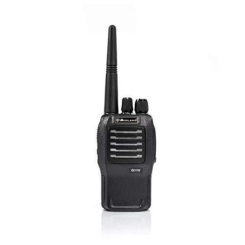 Midland G11V Radio Ricetrasmittente Walkie Talkie con Banda PMR446 - 1 Ricetrasmettitore, Pacco Batteria Ricaricabile, Caricabatterie con Adattatore da Muro e Aggancio Cintura, Audio Chiaro e Potente