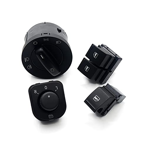 SBCX 4 Juegos de botón de Interruptor de Espejo de Windows de Faro 1K0 941 431Q 1K0 959 565H 1K3 959 857A 1F0 959855, para VW EOS Golf 5 6 GTI Passat CC