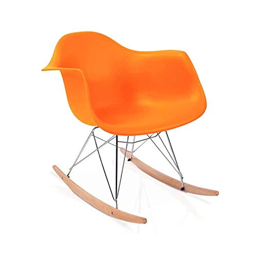 duehome Rocker - Silla Mecedora Tower Naranja y Madera Haya, sillas balancin, Silla diseño nórdico, Medidas: 69,5 cm Alto x 63 cm Ancho x 65,5 cm Fondo