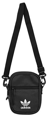 adidas Originals Unisex PU Festival Crossbody Bag, Black/Silver, ONE SIZE