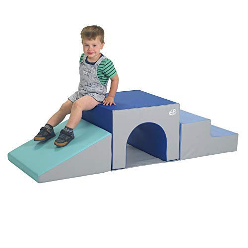 Children's Factory 3 Piece Over & Under Tunnel Climber, Foam Indoor Toddler/Baby Crawling/Climbing Toys for Playroom/Homeschool/Classroom, Blues/Grey