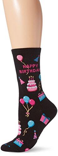 Hot Sox Women's Originals Classics Novelty Crew Socks, Happy Birthday/Black, Shoe Size: 4-10