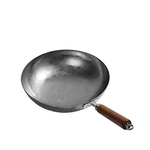 Cocina Hierro Hierro chino Wok Wok Sartén antiadherente Olla de gas sin revestimiento Utensilios de cocina (340MM)